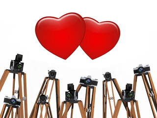Small hearts with vintage camera on white background