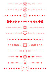 set of page design elements made of valentines