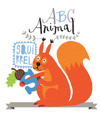 ABC animals: S is for squirrel. Vector Graphics