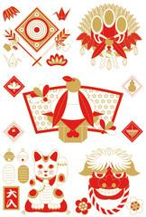 年賀状用イラストカット素材集(破魔矢・門松・鏡餅・招き猫・獅子)赤茶