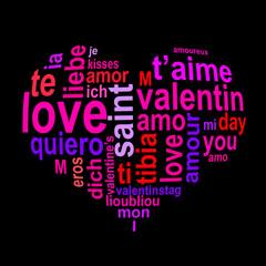 Amour dans toutes les langues, fond noir