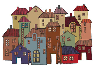 Hand Drawn color houses