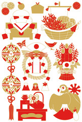 年賀状用イラストカット素材集(鏡餅・宝船・鞠・注連飾り・門松・お屠蘇・一富士二鷹三茄子)赤茶