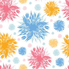 Vector painted abstract flowers seamless pattern background with