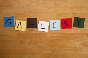 'GALLERY' in letters on tiles - The Arts, Culture