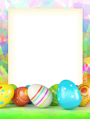 varicoloured frame of Easter eggs