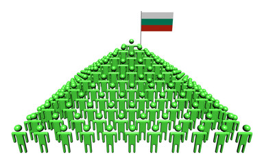 Pyramid of abstract people with Bulgarian flag illustration