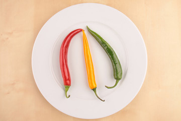 Peperoni rot gelb grün auf Teller