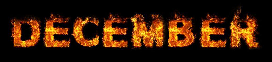 December text on fire