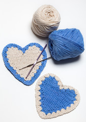 White and Blue Crochet Knitted Hearts