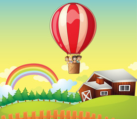 Poster Ranch Kids in an air balloon and a house