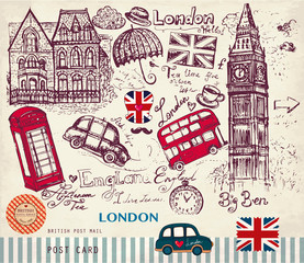 Papiers peints Doodle Vector hand drawn card with London symbols