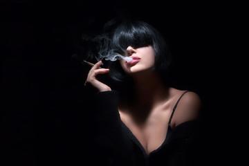 Fashion Art Portrait Of Beautiful Girl. Smoking. Sensual Red Lip