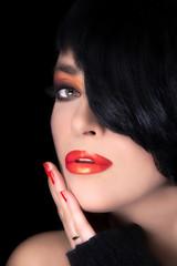 Fashion Brunette Model Portrait. Makeup. Sensual Red Lips