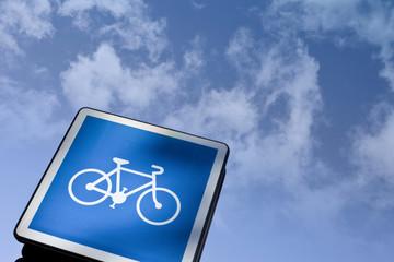 Vélo, panneau, code, urbain, cyclable, symbole, piste