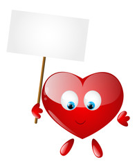 Heart character with empty banner