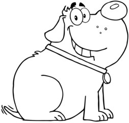 Outlined Happy Fat Dog Cartoon Mascot Character
