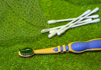children's toothbrush and cotton buds