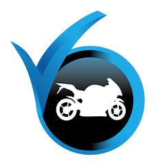 Fototapete - moto sur bouton validé bleu