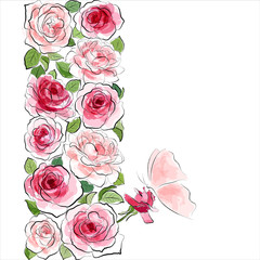Stylish floral background. Pink roses with butterfly
