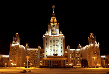 Moscow state University at night . Moscow. Russia