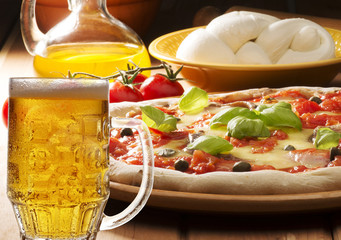 pizza with beer