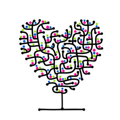 Maze of love, heart shape tree for your design