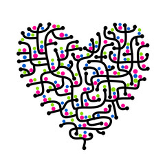 Maze of love, heart shape for your design