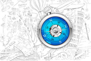 Compass on Travel Background
