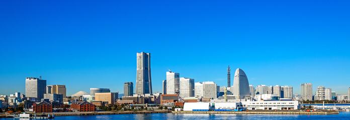 Panoramic view of lower Minato-Mirai City in Yokohama, Japan.