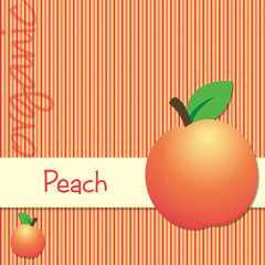 Bright organic peach card in vector format.