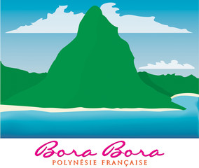 Otemanu mountain of Bora Bora, French Polynesia in vector format