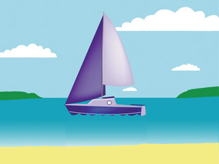Yacht in the bay in vector format.