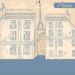 Foto op Canvas Illustratie Parijs France Paris street retro postcard