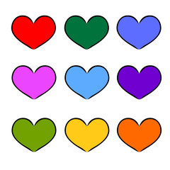 colorful heart shape for love hand-drawn symbol
