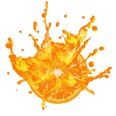 Fresh juice orange on a white background.Spray