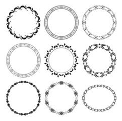 black round decorative frames - vector set