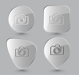 Camera. Glass buttons. Vector illustration.