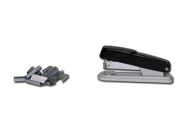Black professional stapler to staple isolated on white backgroun