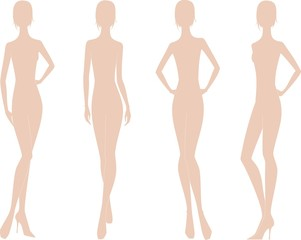 Vector illustration of woman's fashion silhouette. Four options