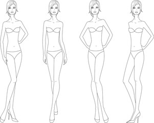 Vector illustration of woman's fashion figure. Four options