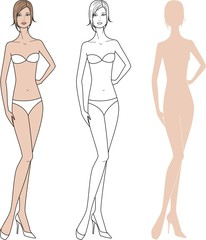 Vector illustration of woman's fashion figure.Three options