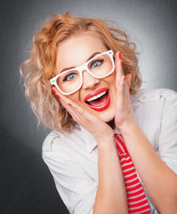Smile face of young blond woman. Joyful girl