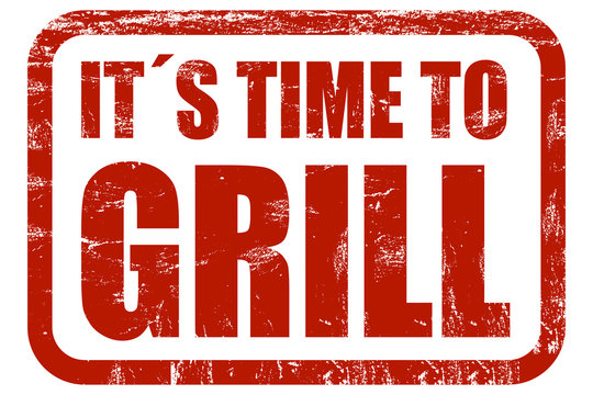 Grunge Stempel rot IT´S TIME TO GRILL