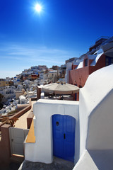 Santorini island with typical architecture, Greece
