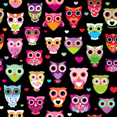 Seamless retro owl colorful kids background pattern in vector