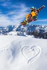 Wall Mural - I love Snowboard