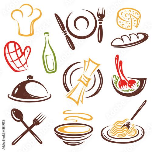 Koch kochen restaurant essen vector set stockfotos for Utensilios de cocina logo