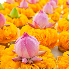 Row of lotus and yellow flower garlands on tray with pedestal in