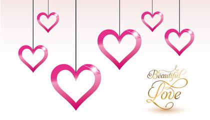 Carte Saint Valentin - Coeur suspendus